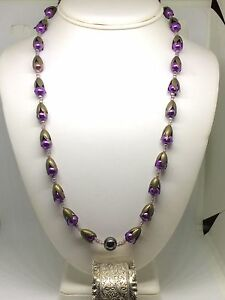 Amazing-Vintage-Crocus-Design-Glass-And-Bronzed-Metal-Necklace