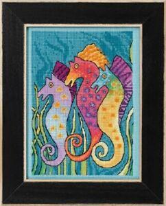 Seahorses - Laurel Burch Cross Stitch & Bead Kit w/14 Ct Aida
