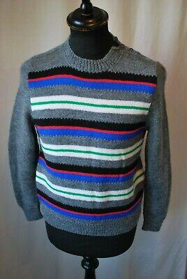 Appena Vintage A Righe Hand Knit Lana Maglione Taglia Small Geek Chic Casual-mostra Il Titolo Originale