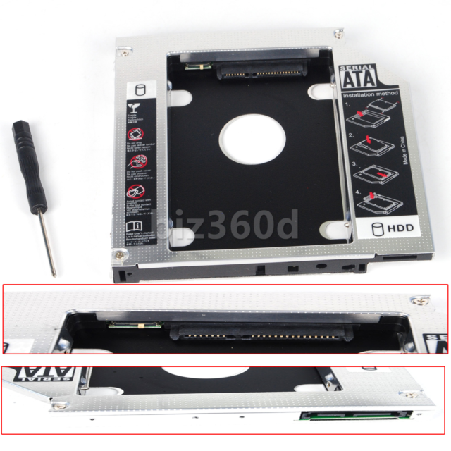 12.7mm SATA 2nd HDD SSD Hard Drive Caddy Universal for CD/DVD-ROM Optical Bay AU