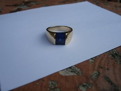 Vintage Beautiful Unique Collectible CC 14k Yellow Sapphire Ring Signet Size 8