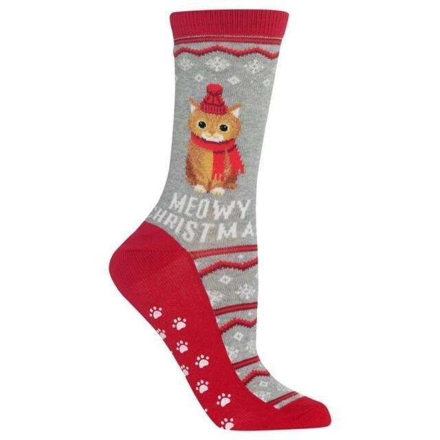 Fluffy Penguin Stripes Hot Sox Non-Skid Crew Socks Blush Women 9-11 Fashion