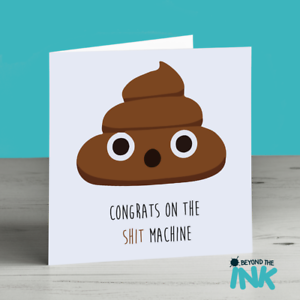 Poo Machine Emoji Humour Funny Congratulations New Born Baby Card