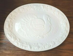 19-034-Oval-Turkey-Serving-Plate-Ironstone-Stoneware-Platter-Repousse-Portugal