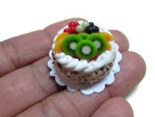 Dollhouse Miniature Chocolate Fruit Glazed Bakery Cake by Falcon Miniatures