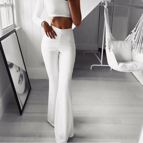 Women Solid High Waist Flare Wide Leg Chic Trousers Bell Bottom Yoga Pants TK
