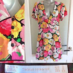 Zara-Tea-Dress-S-UK-8-Rose-Print-Mini-Pink-Floral-Lined-V-Neck-Summer-S-Sleeve