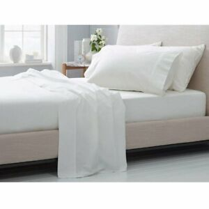 Cal-King-Size-Bedding-4-PCs-Sheet-Set-White-Solid-Microfiber-15-Inch-Drop-US