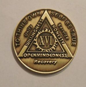 New aa bronze alcoholics anonymous 19 year sobriety chip coin token medallion