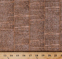 City Chic 2 Newspaper Words Tan Natural Cotton Fabric Print By Yard D582.45