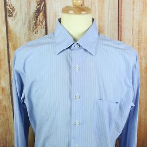 Oxxford-Clothes-Men-039-s-Dress-Shirt-Blue-BESPOKE-w-Measurements-Sz-XL-Striped