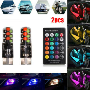 2X T10 5050 W5W 6SMD Remote Control RGB LED Car Dome Reading Lights Lamp Bulb