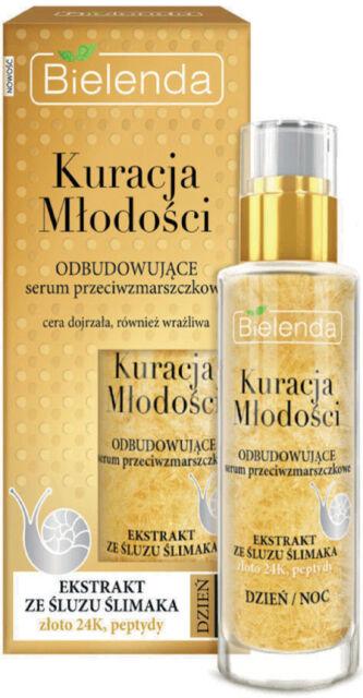 Bielenda YOUTH TREATMENT Anti Wrinkle Brighten FACE SERUM Snail Slime & 24K Gold