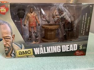 "MORGAN & IMPALED WALKER Deluxe Box McFarlane Toys Walking Dead AMC TV 5"" Figures"