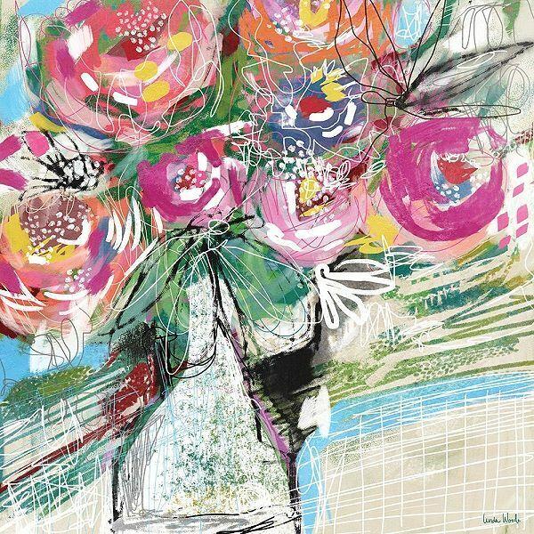 Linda Woods  Bright Bouquet Keilrahmen-Bild Leinwand Blaumen Strauß bunt modern