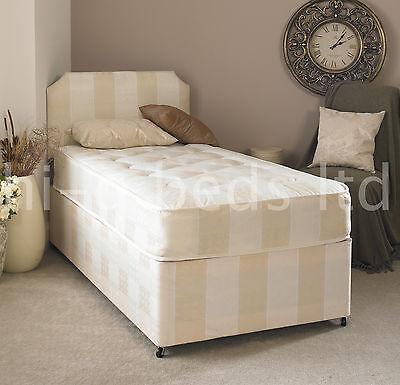 3FT Single Deep Quilt Divan Bed And Mattress + Headboard + Storage SINGLE BED