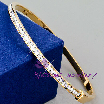 9K 9ct Rose GOLD GF Ladies Oval BANGLE SWAROVSKI Lab DIAMOND BRACELET S621