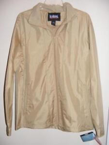 131143047c4 New TOTES tan lined raincoat water resistant zippered JACKET Medium ...