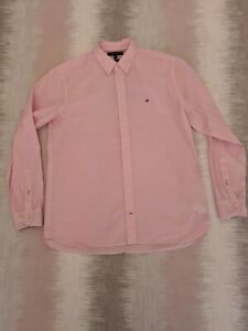 Tommy-Hilfiger-Mens-Pink-Long-Sleeved-Shirt-Sz-XL-100-Cotton-Designer-C176