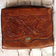 VINTAGE Brown Hand Tooled Leather Clutch Purse Bag Floral Small  Talon