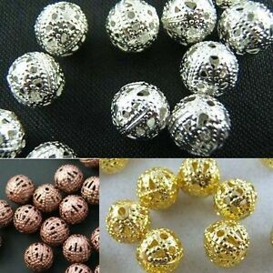 Wholesale-Silver-Copper-Gold-Plated-Round-Spacer-Loose-Beads-DIY-Jewelry