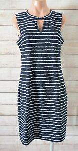 Stella-Pencil-Stretch-Dress-Size-12-Blue-Navy-White-Striped-Sleeveless