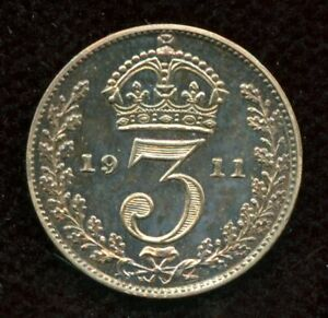 1911-Proof-Great-Britain-3-Pence-Silver-Coin-Threepence