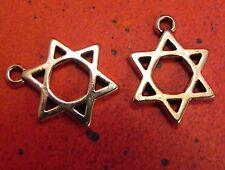 "20 Charms Hebrew Faith Judaica Gift Charm Jewish Star of David 7/8"" Stars Favor"