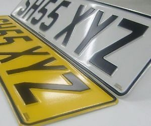 PRESSED METAL EMBOSSED CAR REGISTRATION NUMBER PLATES (REG PLATE) NO GB LOGO
