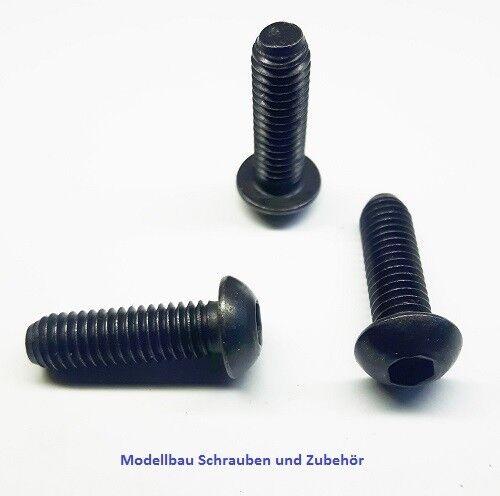 schwarz ISO 7380 10 Stück Linsenkopschraube M6x20mm Stahl hochfest 10.9