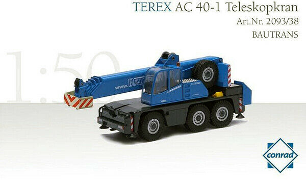 Conrad 2093-38 BAUTRANS-TEREX-DEMAG AC40 grue télescopique 1 50 Die-Cast En parfait état, dans sa boîte