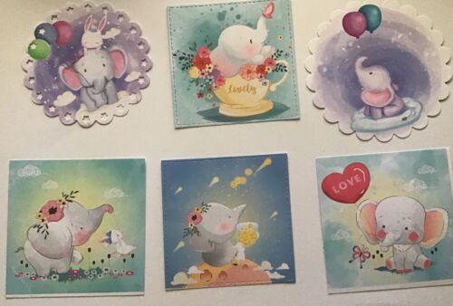 Baby Elephants Bulk Card Toppers//Scrapbooking Embellishments//