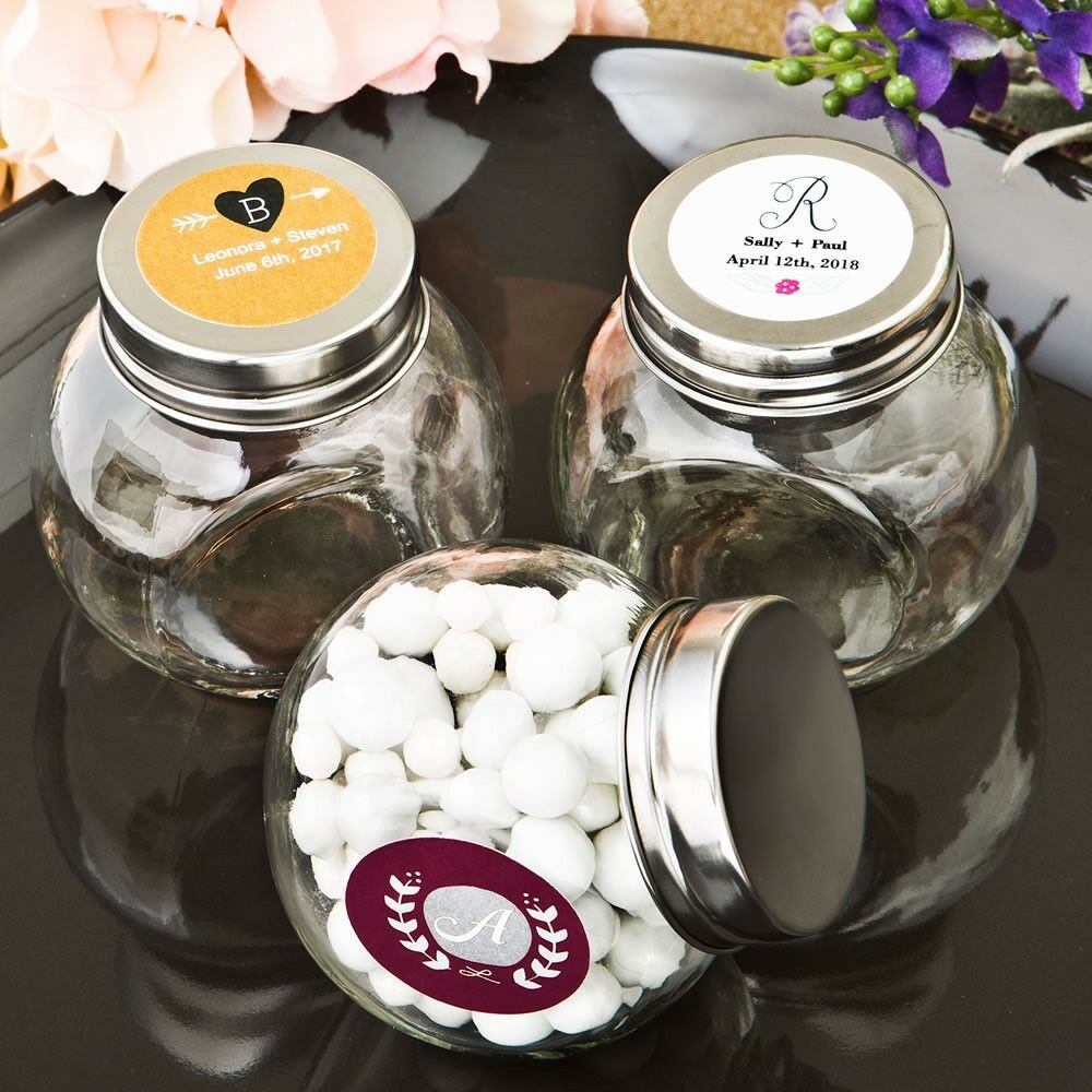 40 Personalized Glass Candy Jars Baby Shower Baptism Christening Party Favors