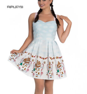 Hell-Bunny-Christmas-Blue-Mini-Dress-CANDY-Gingerbread-Festive-All-Sizes