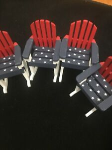 Peachy Details About Mini Small Adirondack Red White Blue Rocking Chairs Set Of Four Star Stripes Pdpeps Interior Chair Design Pdpepsorg