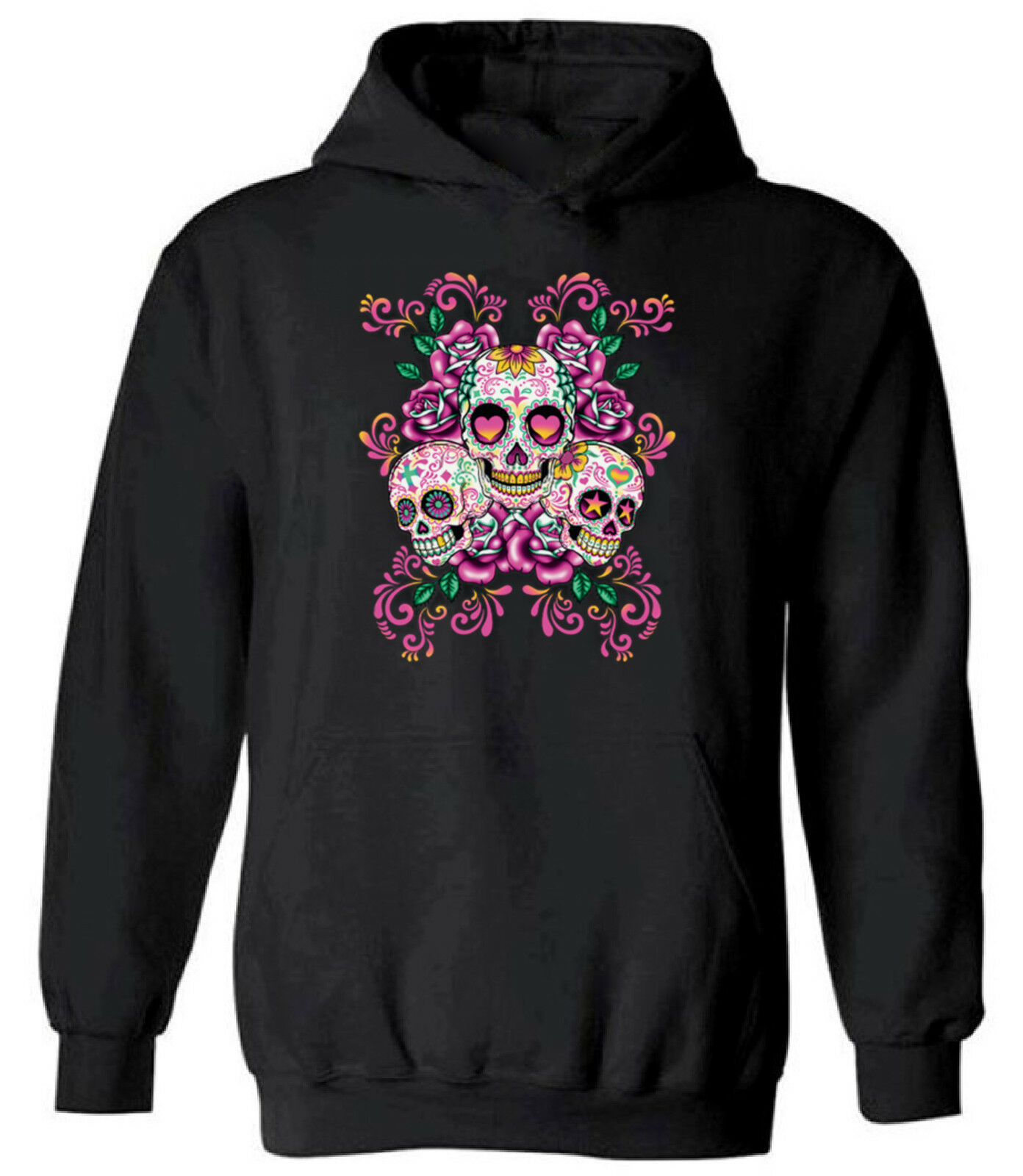 Zip Up Hoodie Mexican Sugar Skull with Roses and Sombrero