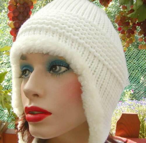 DamenmützeStrickmütze Norweger-Style in Weiß Wintermützen Damenmützen Damenhüte