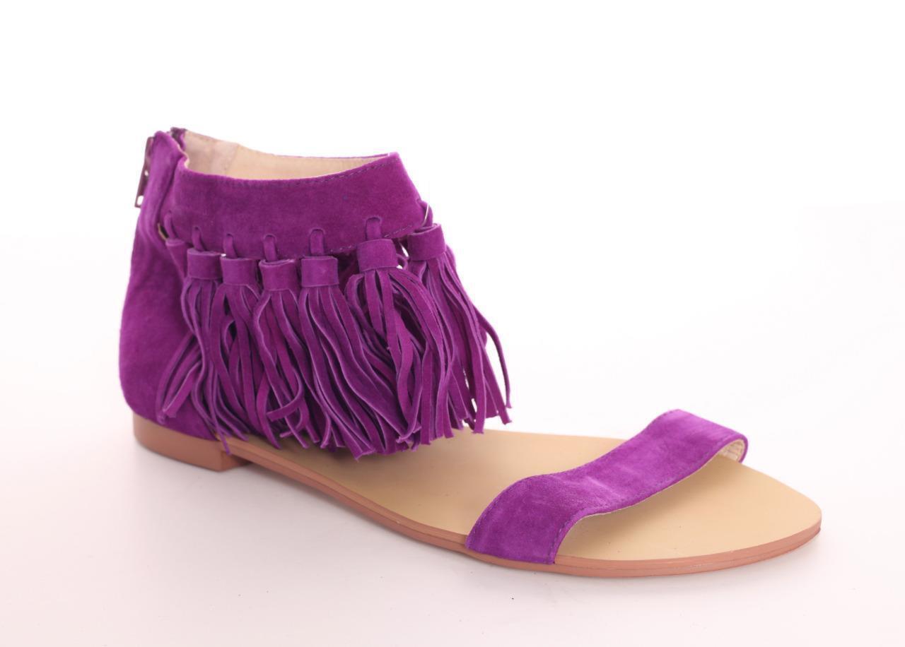 ESSENTIEL Womens Purple Suede Fringe Ankle Strap Zip-On Sandal shoes 9 NEW