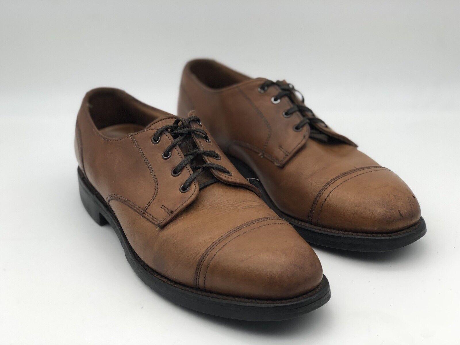 Allen Edmonds Size 9 B Walnut Cap Toe Double Stitch Oxfords Rubber Sole