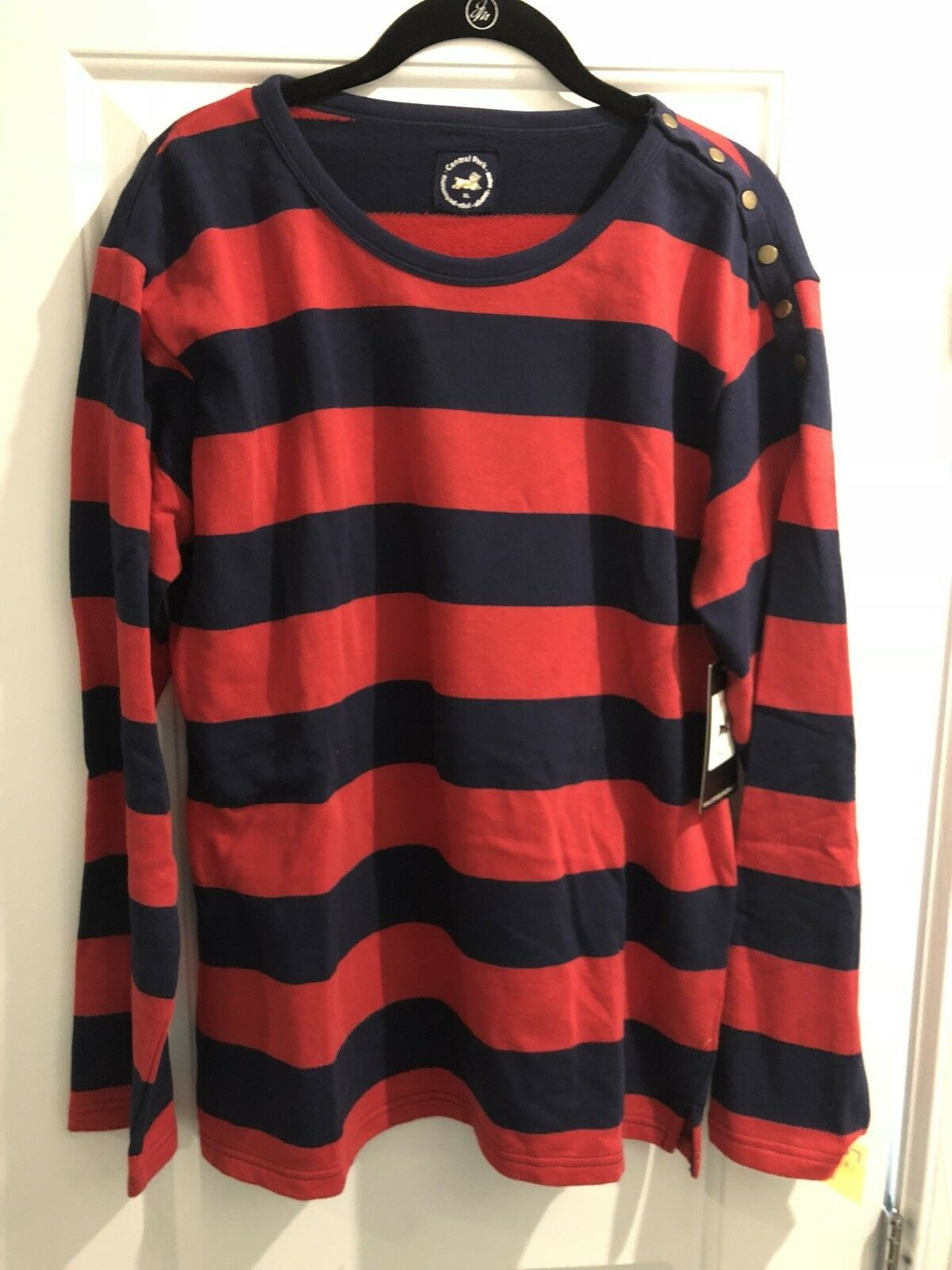 New New New With Tags Women's Central Park Yoga Red & bluee Stripe Crew Sweatshirt  XL 4f811c