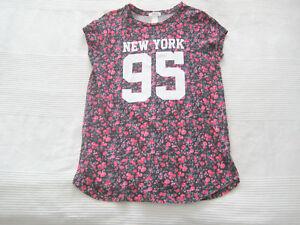 FOREVER 21 Shirt schwarz pink BLUMEN NYC New York Gr. 13 / 14 152 158 * wie NEU