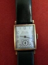 MOLINE VINTAGE WRIST WATCH 17 JEWELS SWISS MADE 10K GOLD FILLED WORKING CONDITI.
