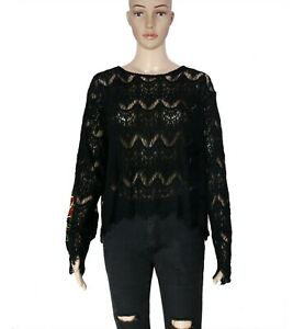 Free-People-Floral-Pattern-Embroidered-Bell-Sleeve-Black-Blouse-Top-New-Large-L