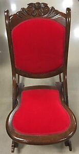 Astounding Details About Rare Old Vintage Antique Folding Nursing Rocking Chair Wood Red Upholstered Nice Machost Co Dining Chair Design Ideas Machostcouk