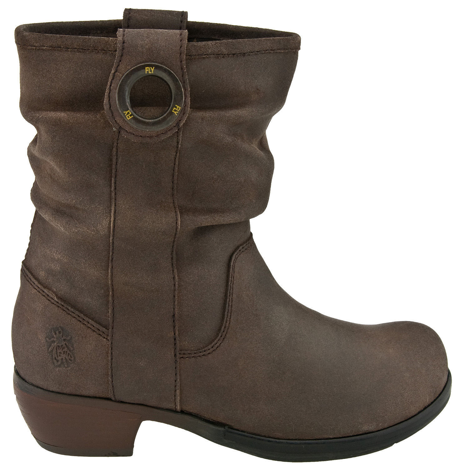 FLY LONDON MARY DESIGNER BROWN LEATHER PULL ON SLOUCH BOOTS UK 4 EUR 37