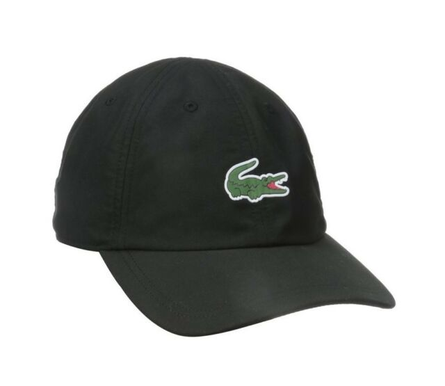 9c49e3fa070fb Lacoste Mens Sport Polyester Hat With Green Croc in Black O s M US ...