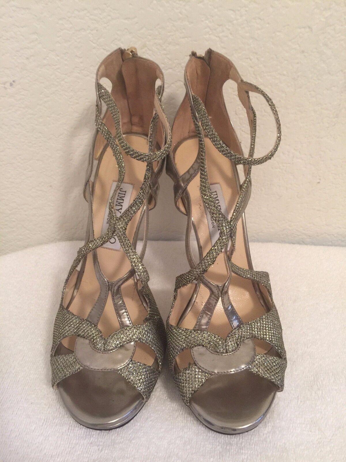 Jimmy Choo Light Bronze Glitter Vermeil Strappy Ankle Sandal schuhe Größe 38.5