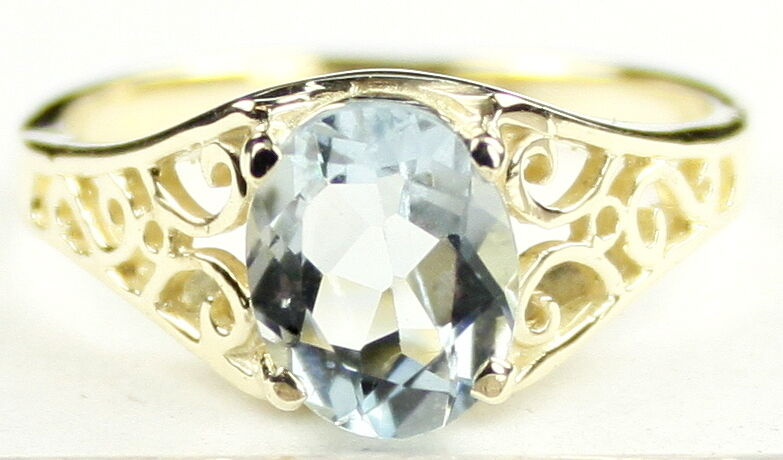Aquamarine, Solid 10KY or 14KY gold Ladies Ring-Handmade, R005