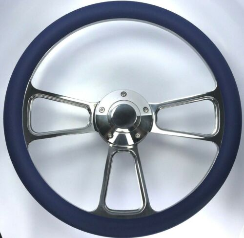 "14/"" Polished Billet Steering Wheel Royal Blue Half Wrap and Horn Button"