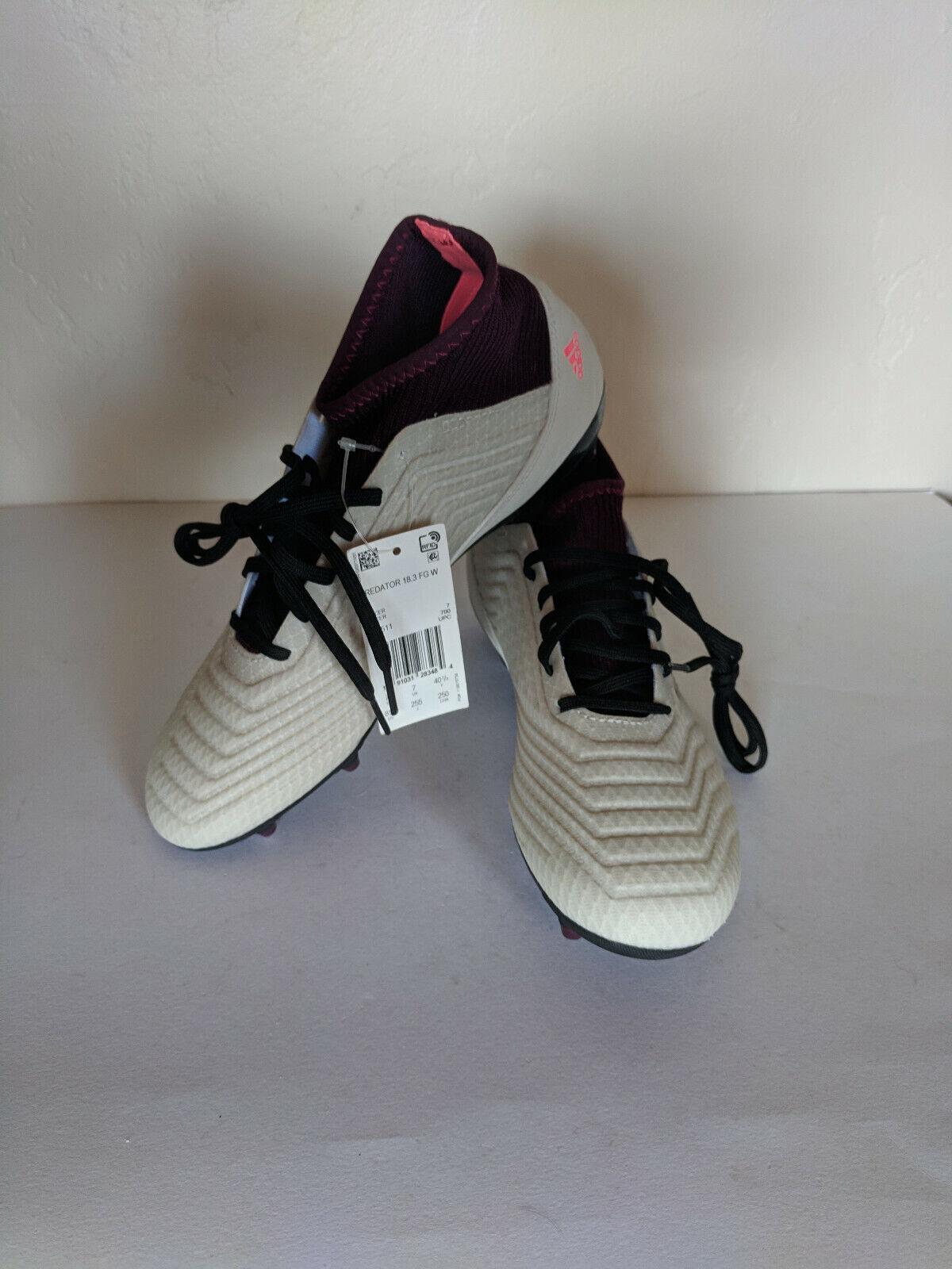 NEW adidas 18.3 Predator Soccer Cleats Women's 8.5 White Maroon DB2511